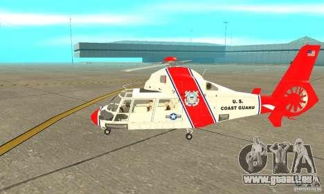 AS 365N United States Coast Guard für GTA San Andreas zurück linke Ansicht