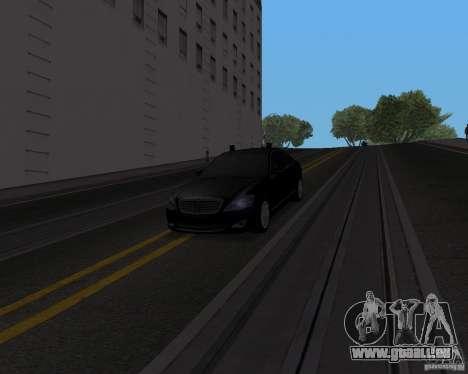 Mercedes Benz S500 w221 SE pour GTA San Andreas sur la vue arrière gauche