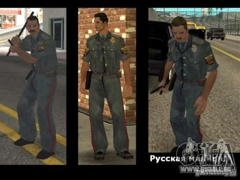 Pelliplacage remplace PD, armée et une peau du F pour GTA San Andreas troisième écran