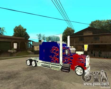 Truck Optimus Prime pour GTA San Andreas vue de droite
