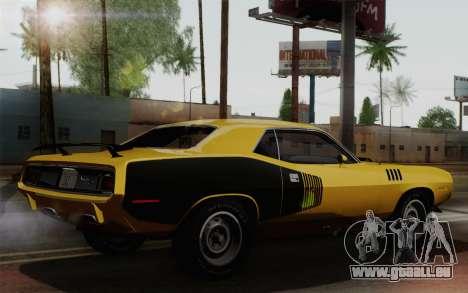Plymouth Hemi Cuda 426 1971 pour GTA San Andreas vue de droite
