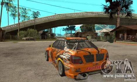 Subaru Impreza D1 WRX Yukes Team Orange pour GTA San Andreas sur la vue arrière gauche