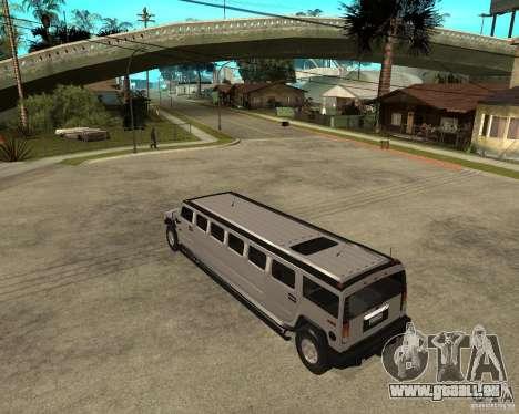 AMG H2 HUMMER 4x4 Limusine pour GTA San Andreas laissé vue