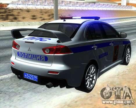 Mitsubishi Lancer Evolution X PPP Polizei für GTA San Andreas zurück linke Ansicht
