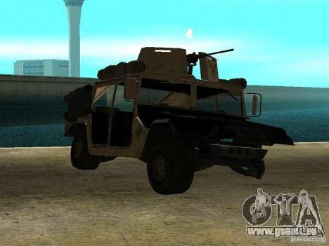 Hummer H1 HMMWV with mounted Cal.50 pour GTA San Andreas sur la vue arrière gauche
