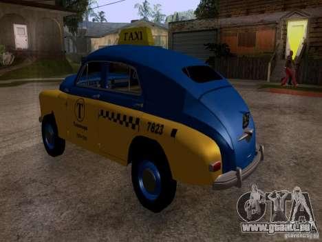 GAZ M20 Pobeda Taxi pour GTA San Andreas laissé vue