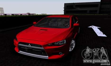 Mitsubishi Lancer Evolution X 2008 für GTA San Andreas zurück linke Ansicht