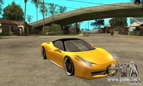Ferrari 458 Italia custom pour GTA San Andreas vue arrière