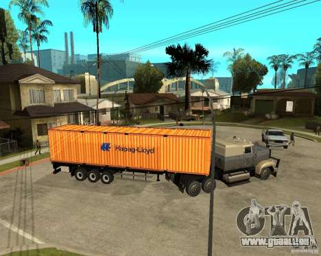 Krone Trailer Hapag-LLoyd pour GTA San Andreas sur la vue arrière gauche
