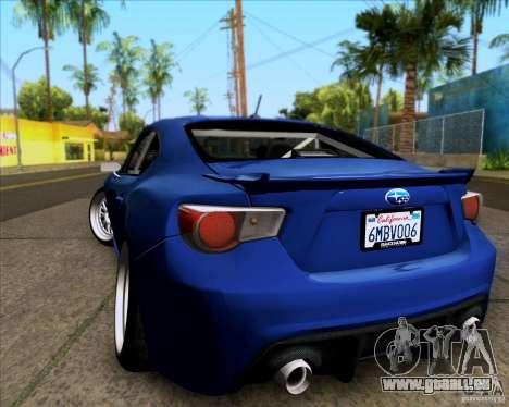 Subaru BRZ Stance pour GTA San Andreas sur la vue arrière gauche