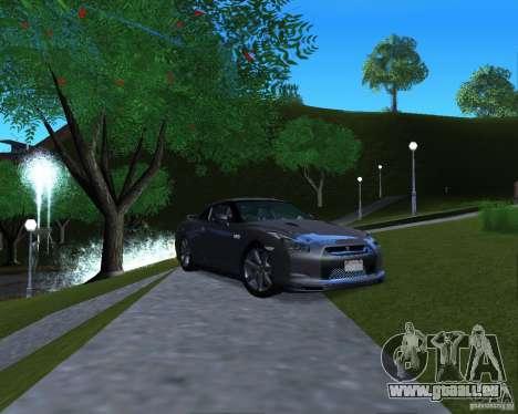 Nissan GTR R35 für GTA San Andreas zurück linke Ansicht
