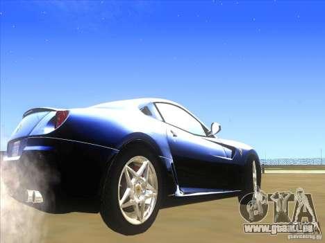 Ferrari 599 GTB Fiorano für GTA San Andreas zurück linke Ansicht