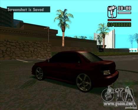 Subaru Impreza tuning pour GTA San Andreas sur la vue arrière gauche