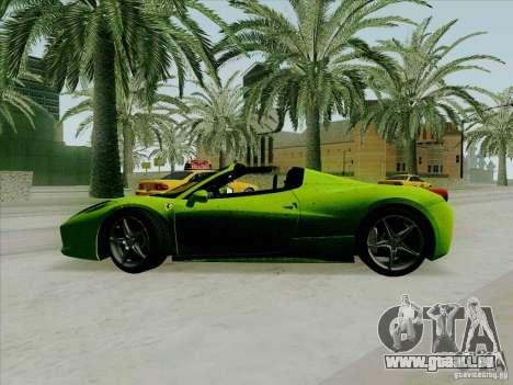 Ferrari 458 Spider für GTA San Andreas linke Ansicht