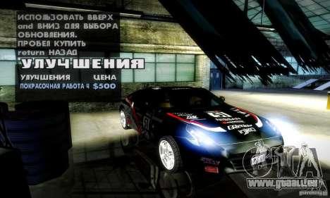 Nissan 370Z V2 für GTA San Andreas Unteransicht