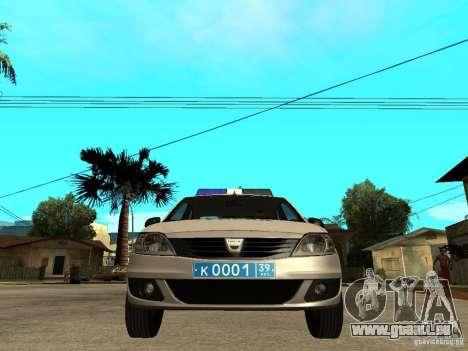 Dacia Logan Police pour GTA San Andreas vue de droite