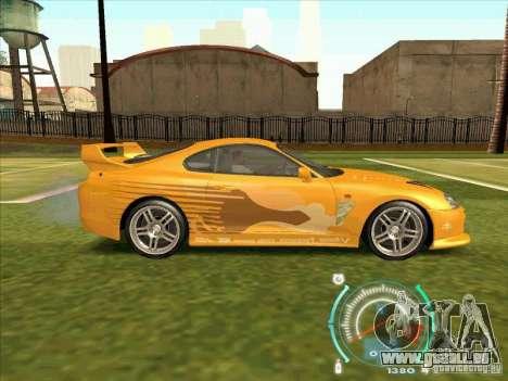 Toyota Supra from 2 Fast 2 Furious pour GTA San Andreas vue de côté