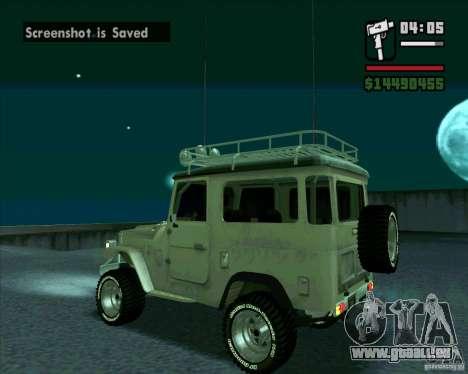 Toyota Land Cruiser FJ40 pour GTA San Andreas sur la vue arrière gauche