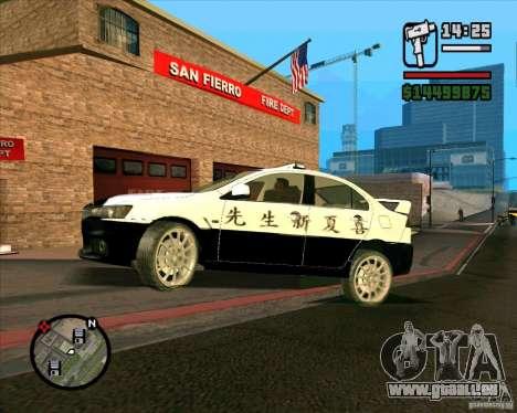 Mitsubishi Lancer EVO X Japan Police pour GTA San Andreas sur la vue arrière gauche