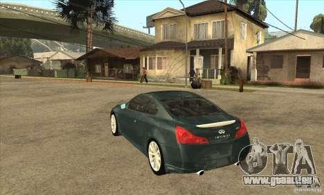 Infiniti G37 Coupe Sport für GTA San Andreas rechten Ansicht
