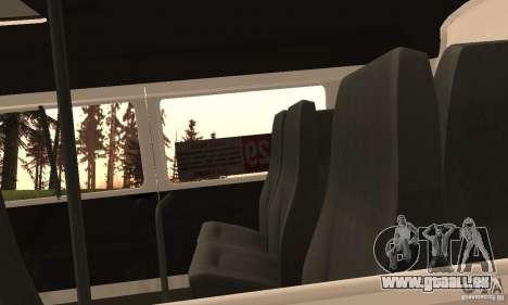 Minibus de Novossibirsk Gazelle 32213 pour GTA San Andreas vue intérieure