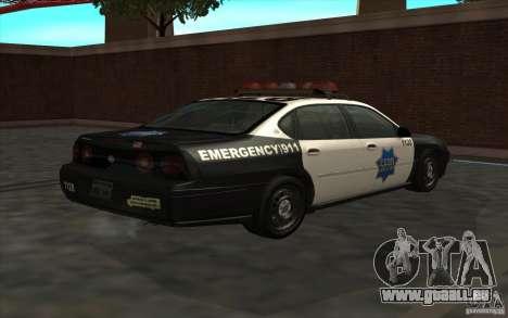 Chevrolet Impala 2003 SFPD pour GTA San Andreas laissé vue