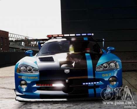 Dodge Viper SRT-10 ACR 2009 Police ELS pour GTA 4 est une vue de l'intérieur