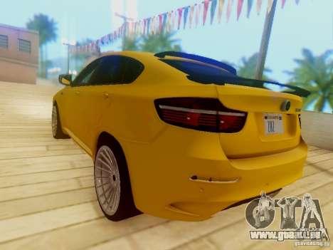 BMW X6 Hamann pour GTA San Andreas vue de dessus