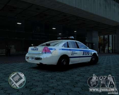 NYPD Chevrolet Impala 2006 [ELS] pour GTA 4 Vue arrière de la gauche