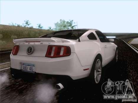 Ford Shelby Mustang GT500 2010 pour GTA San Andreas vue de droite