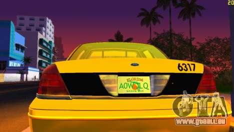 Ford Crown Victoria Taxi 2003 pour une vue GTA Vice City de l'intérieur