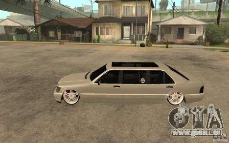 Mercedes-Benz S600 V12 W140 1998 VIP pour GTA San Andreas laissé vue