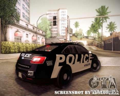 Ford Taurus Police Interceptor 2011 für GTA San Andreas rechten Ansicht