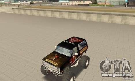 Chevrolet Blazer K5 Monster Skin 4 pour GTA San Andreas laissé vue