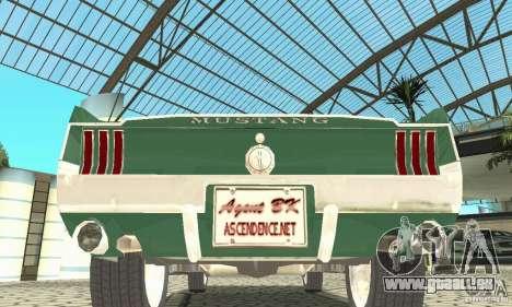 Ford Mustang Fastback 1967 für GTA San Andreas Innenansicht