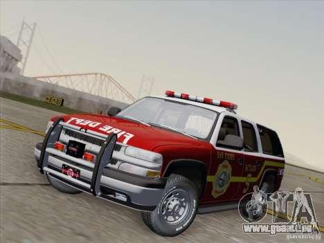 Chevrolet Suburban SFFD pour GTA San Andreas sur la vue arrière gauche