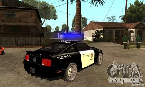 Shelby GT500KR Edition POLICE pour GTA San Andreas vue de droite