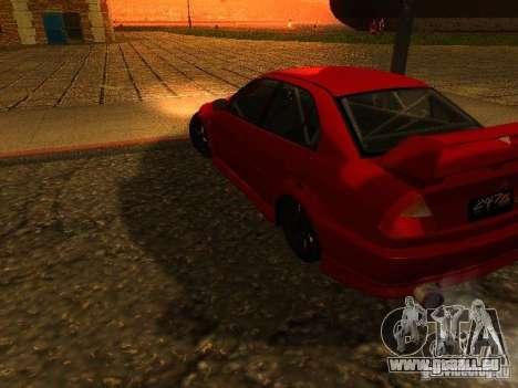 Mitsubishi Lancer Evolution VI GSR 1999 pour GTA San Andreas laissé vue
