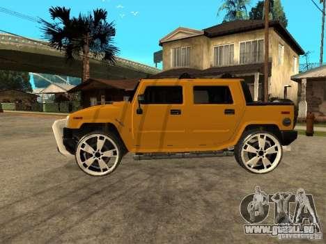 Hummer H2 4x4 diesel pour GTA San Andreas sur la vue arrière gauche