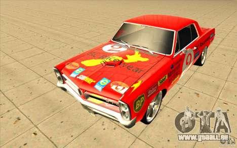 Pontiac GTO 1965 NFS Pro Street nouveaux vinyls pour GTA San Andreas vue de droite