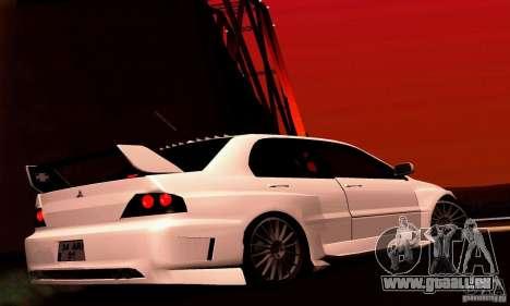 Mitsubishi Lancer Evo VII pour GTA San Andreas vue de droite