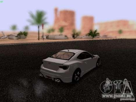 Toyota 86 TRDPerformanceLine 2012 pour GTA San Andreas sur la vue arrière gauche