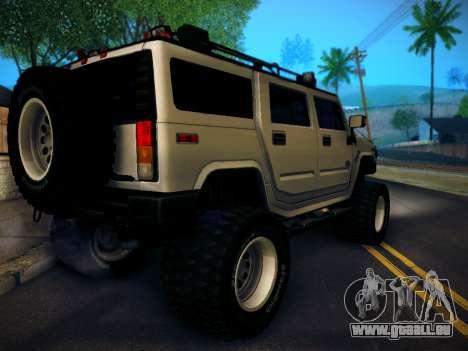 Hummer H2 Monster 4x4 pour GTA San Andreas laissé vue
