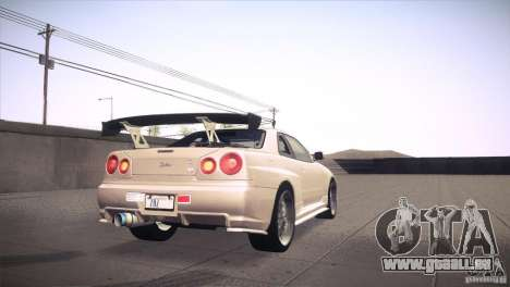 Nissan Skyline R34 für GTA San Andreas Innen