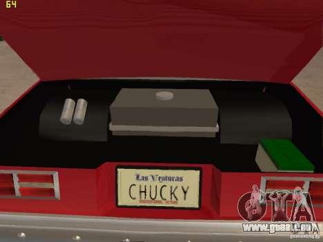 Chevrolet Nova Chucky pour GTA San Andreas vue intérieure
