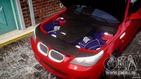 BMW M5 E60 2009 pour GTA 4 est une vue de l'intérieur