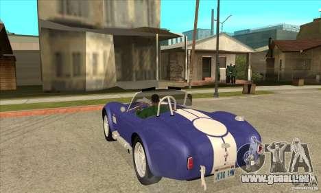 AC Shelby Cobra 427 1965 pour GTA San Andreas sur la vue arrière gauche