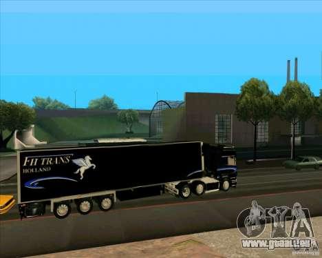 Remorque pour le Scania R620 souteneur pour GTA San Andreas laissé vue