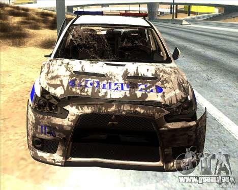 Mitsubishi Lancer Evolution X PPP Police pour GTA San Andreas salon