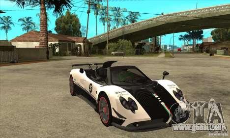Pagani Zonda Cinque Roadster für GTA San Andreas Rückansicht